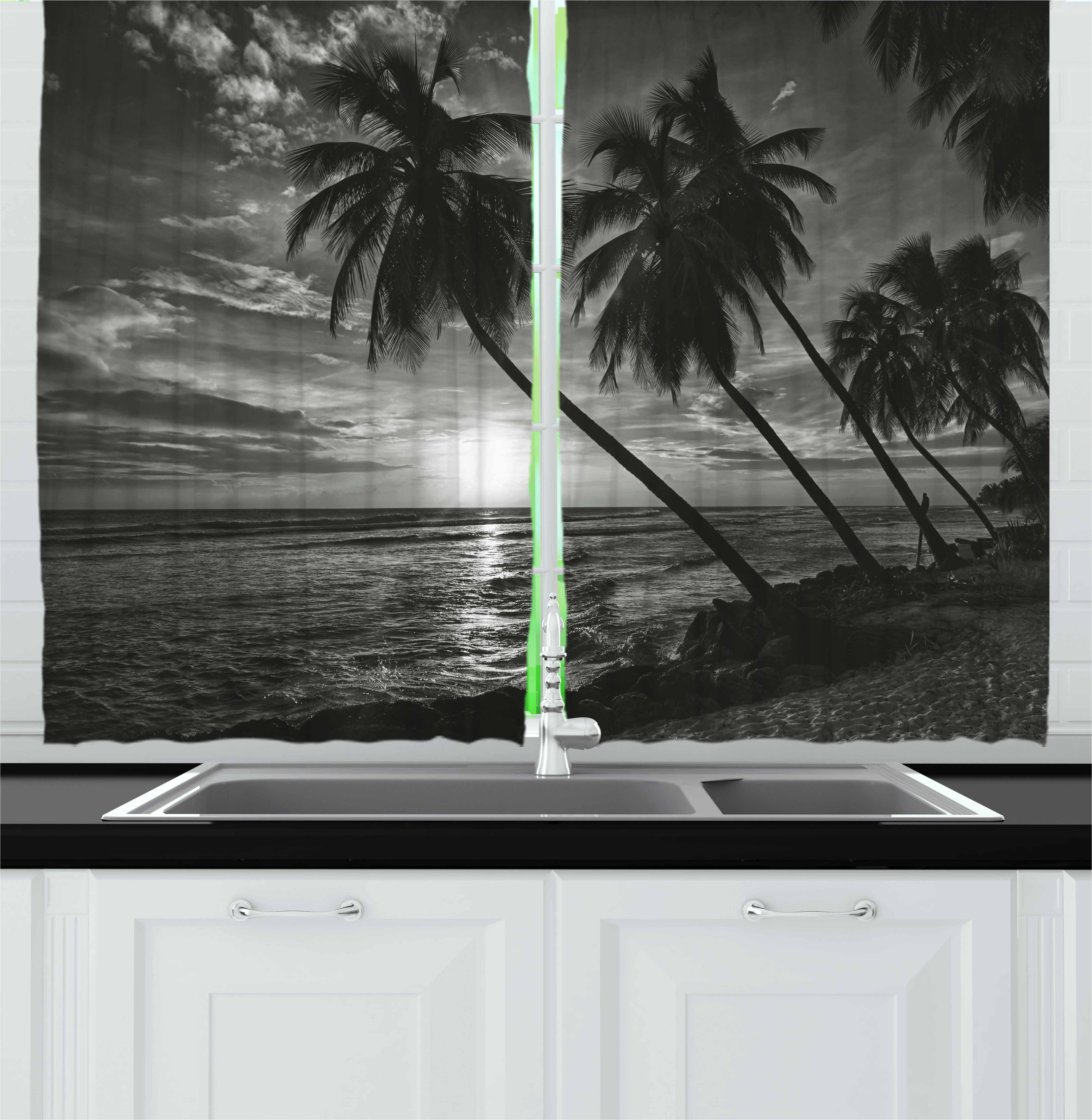 Tropical Curtains 2 Panels Set Coconut Palm Trees On