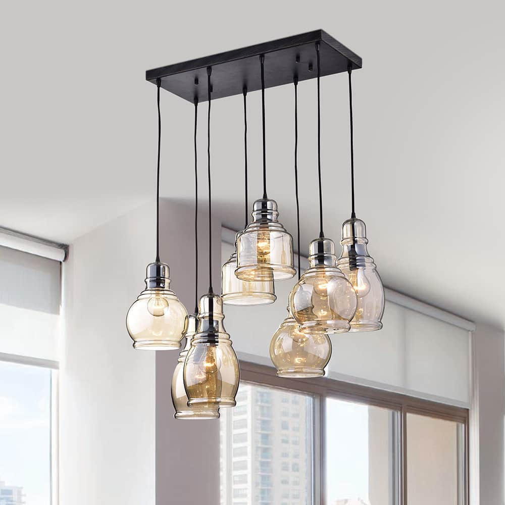 The Lighting Store Mariana 8-Light Cognac Glass Cluster Pendant in Antique Black Finish