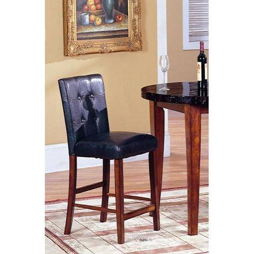 Roundhill Blended Leather Counter Height Bar Stool Chairs with Oak Finish Solid Wood Legs