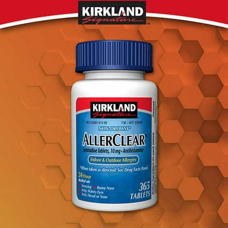 Kirkland Signature Non Drowsy Allerclear Loratadine Tablets, Antihistamine, 10mg,  365