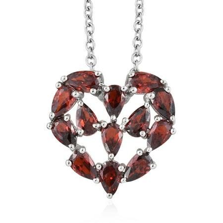 "Pear Cubic Zircon CZ Garnet Love Heart Stainless Steel Chain Pendant Necklace for Women 20"" Ct 3.5"