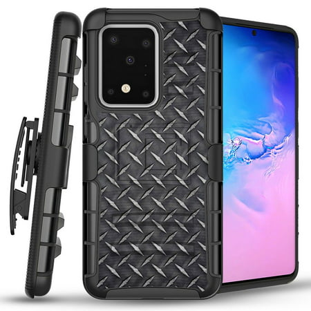 Bemz Armor Combo Samsung Galaxy S20 Ultra, 6.9 inch Phone Case - Heavy Duty Rugged Protector Cover with Removable Belt Clip Holster and Atom Wipe - Diamond Plate