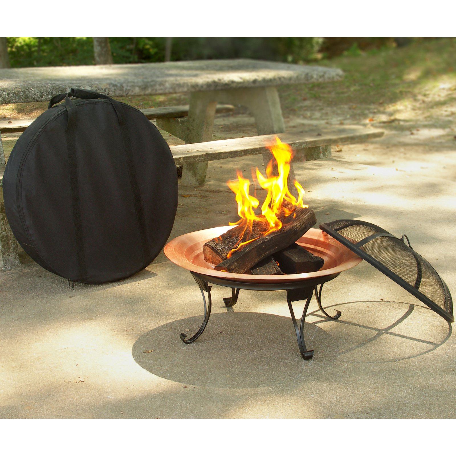 Asia Direct Folding Portable 26 Diam Fire Pit With Free Cover
