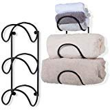WALLNITURE 3 Section Wall Mounted Curved Finish Towel Racks Wrought Iron 16 Inch Black Set of 2 (Black Wrought Iron Horse)