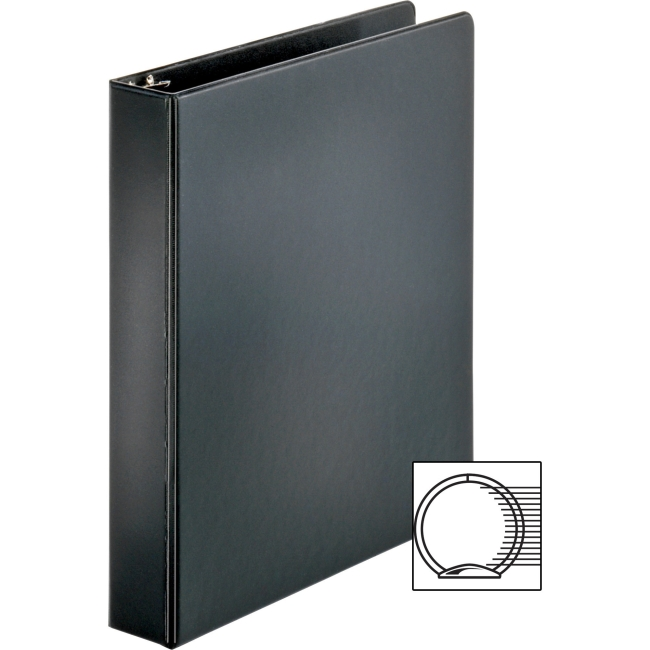 "Business Source Basic Round Ring Binders 1 1 2"" Binder Capacity Round Ring Fastener Vinyl Black 1.02 lb... by Business Source"