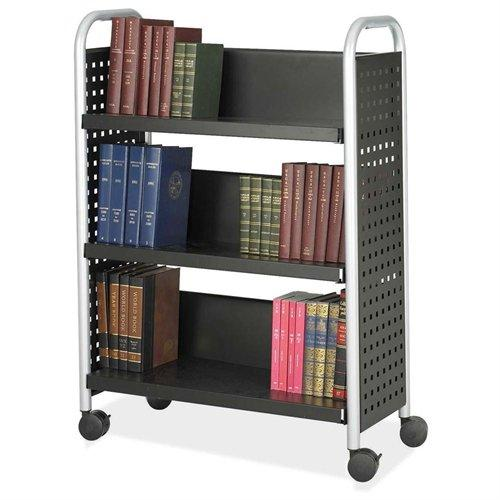 "Safco Scoot Single Sided Book Cart - 3 Shelf - 4 X 3"" Caster - Steel - 33"" X 14.3"" X 44.3"" - Silver (5336BL)"