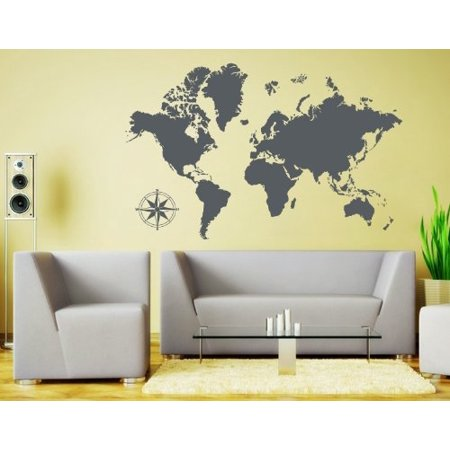 Detailed World Map Wall Decal - Educational Wall Decal, Map Sticker, Vinyl Wall Art, Geography Decor - 3712 - Dark gray, 74in x 47in -  Style and Apply, 1963-129541-129534