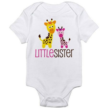 6df8bbcf8a161 CafePress - Baby Giraffe Little Sister Newborn Baby Bodysuit - Walmart.com