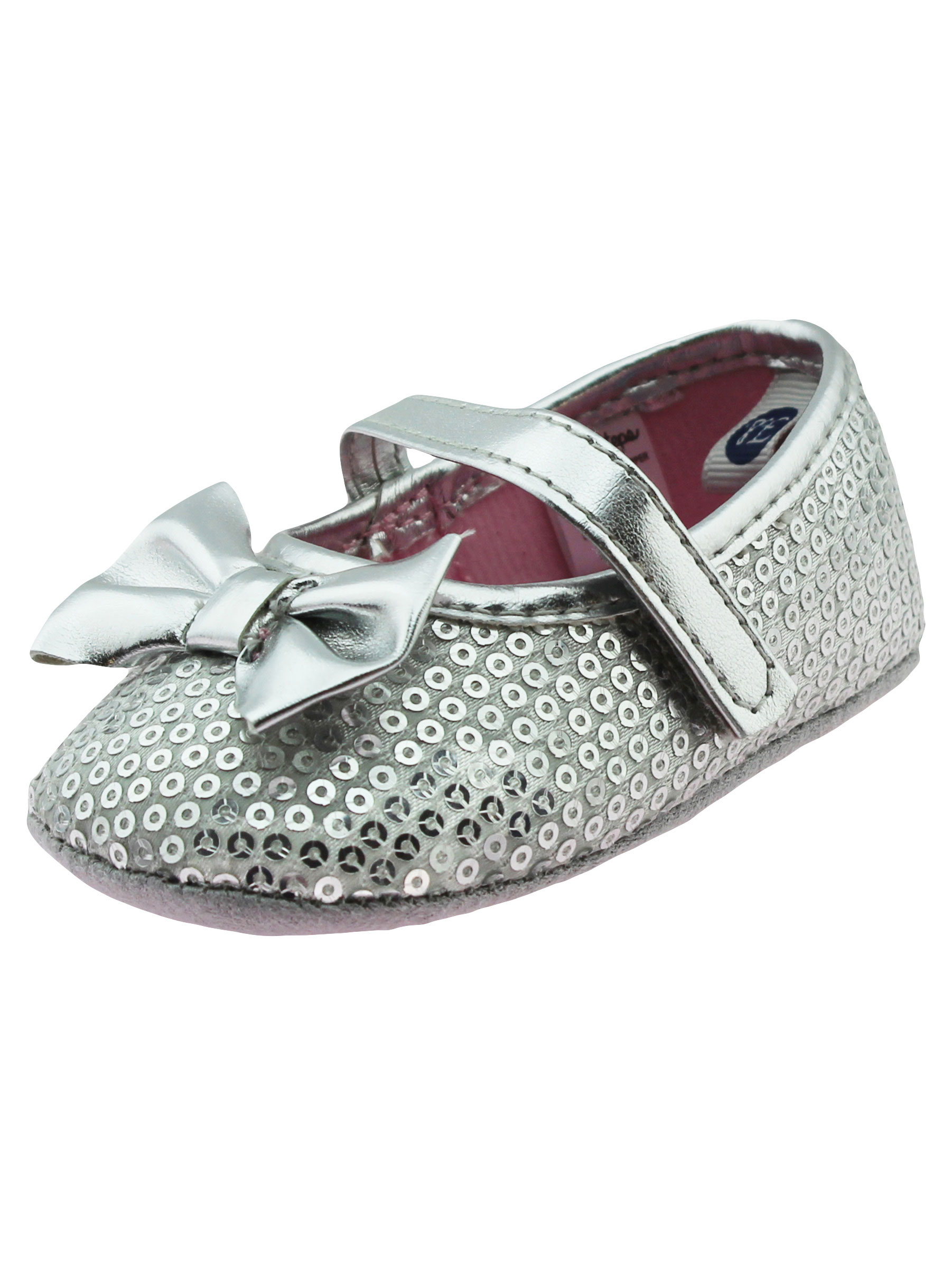 First Steps Baby Girls Sequin Special Occasion Mary Jane Shoes Silver Grey 2