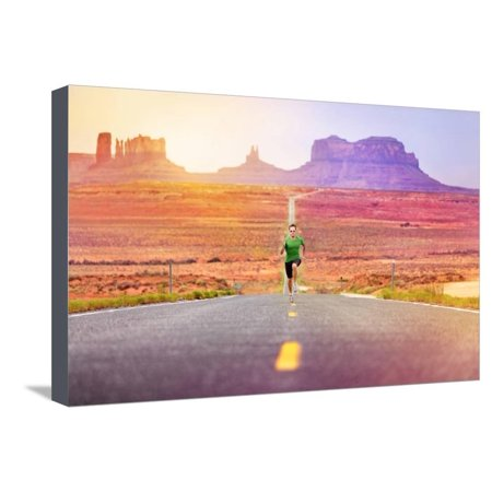 Monument Valley Halloween (Runner Man Athlete Running Sprinting on Road by Monument Valley. Concept with Sprinter Fast Trainin Stretched Canvas Print Wall Art By)