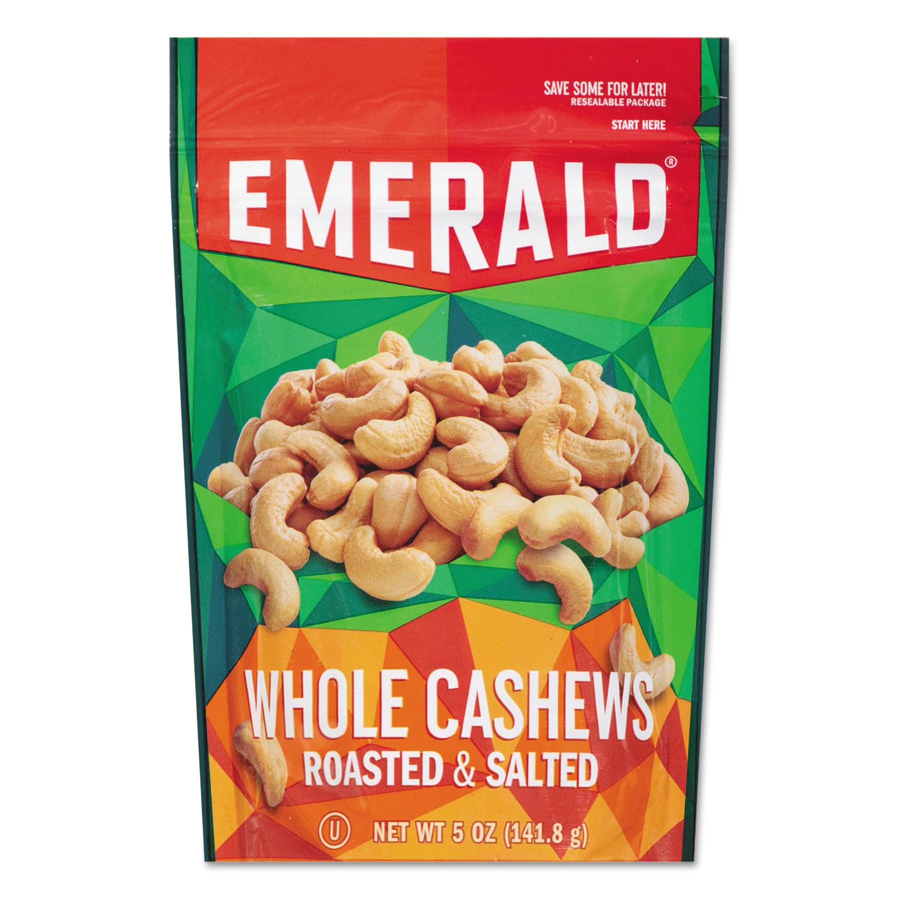 Emerald Roasted & Salted Whole Cashews, 5 oz, (Pack of 6) by Diamond Foods