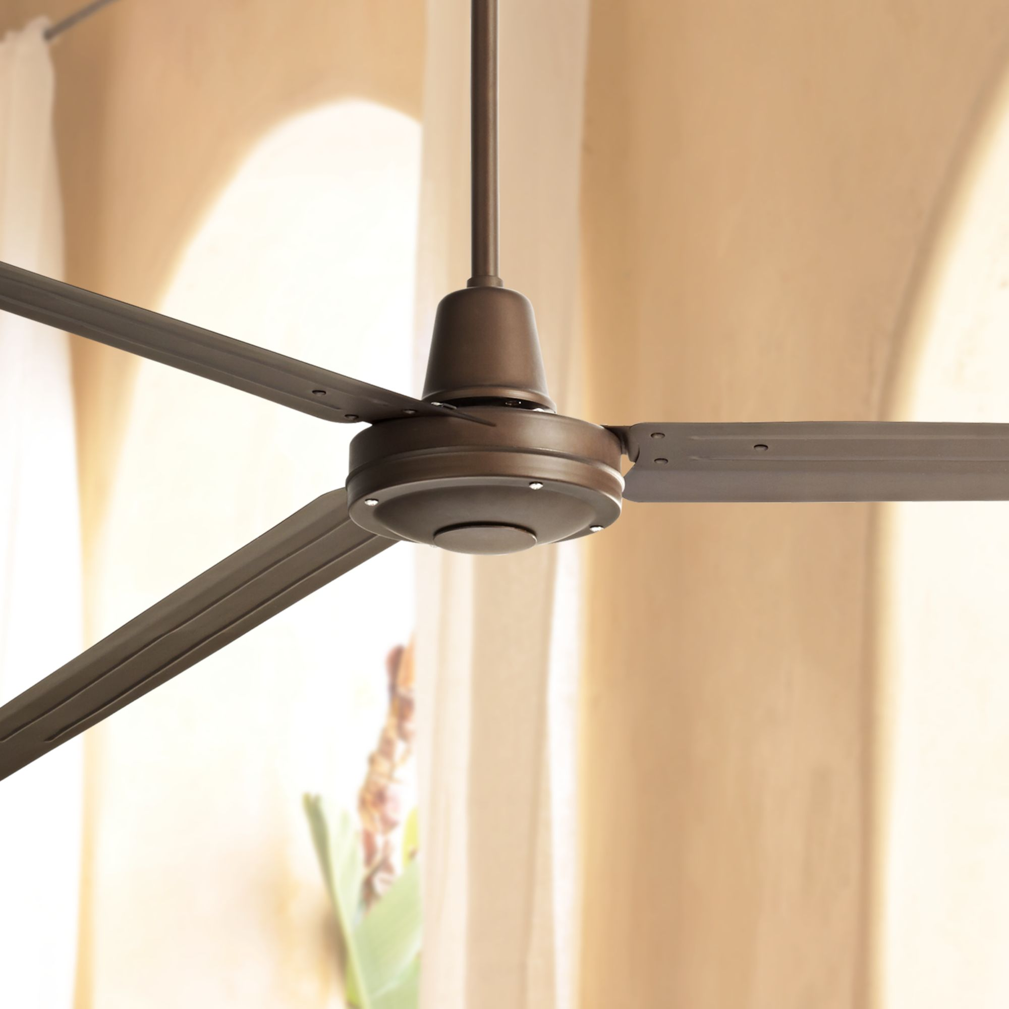 """84"""" Casa Vieja Industrial Outdoor Ceiling Fan with Remote Control Large Oil Rubbed Bronze Damp Rated for Patio Porch"""
