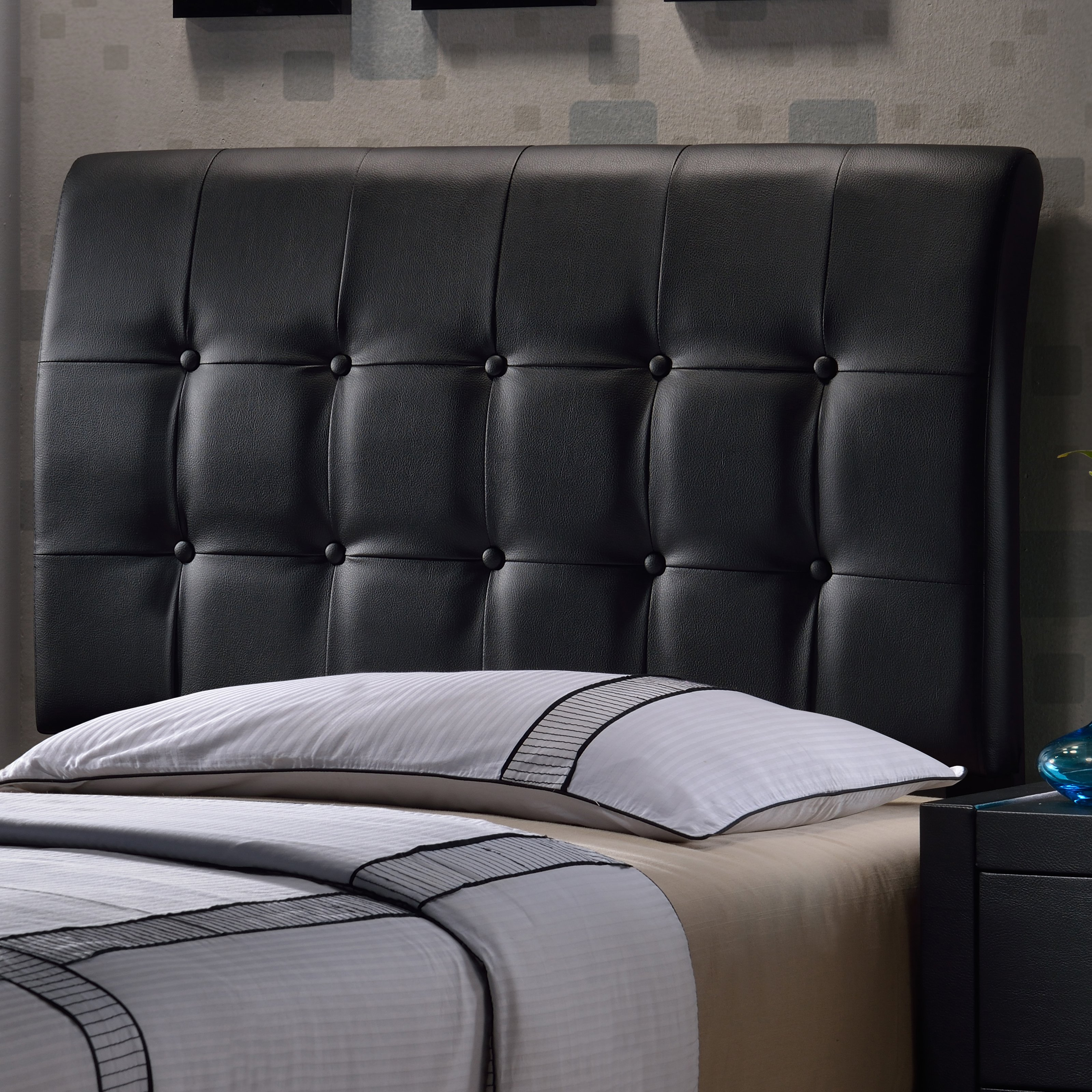 Lusso Upholstered Low Profile Bed - Black Faux Leather - Twin - Headboard Only