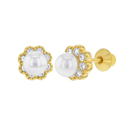 925 Sterling Silver White CZ Simulated Pearl Flower Safety Earrings for - White Pearl Flower Earrings