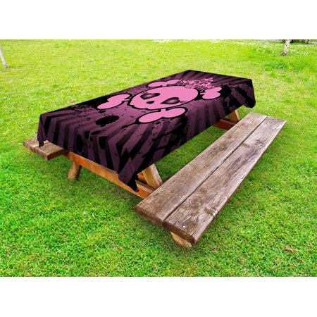 Skull Outdoor Tablecloth, Cute Skull Illustration with Crown Dark Grunge Style Teen Spooky Halloween Print, Decorative Washable Fabric Picnic Tablecloth, 58 X 104 Inches, Pink Black, by - Cute Halloween Illustrations