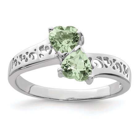 Sterling Silver Rhodium Green Amethyst Heart Ring. Gem Wt-0.94ct