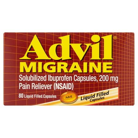 Advil Migraine  80 Count  Pain Reliever Liquid Filled Capsules  200Mg Ibuprofen  20Mg Potassiuim  Migraine Treatment