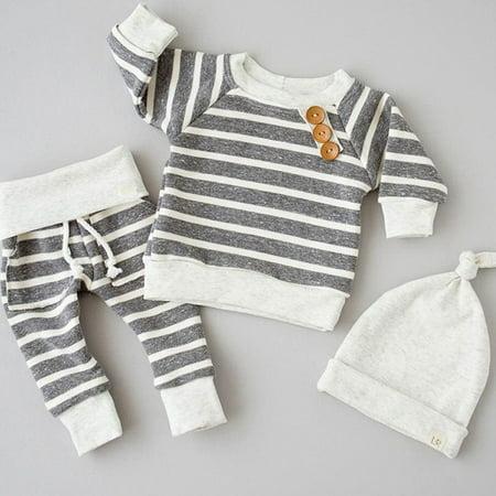 3pcs Newborn Baby Boy Girls Kids Infant tops pants Hat Bodysuit Outfits - Hot Outfits