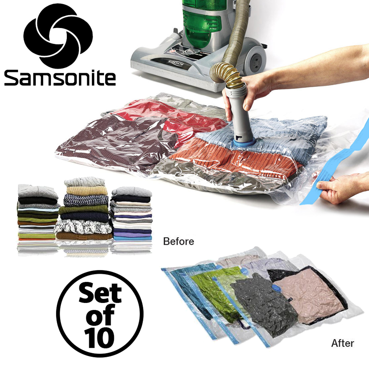 10pc Samsonite Vacuum Storage Bags Set Compress Protect Organize Clothes Bedding