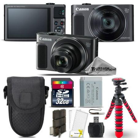 Canon PowerShot SX620 HS Digital Camera Black + Spider Tripod + Case - 32GB Kit