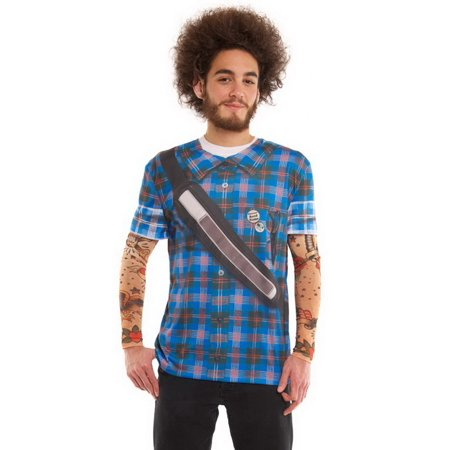 Big Mens Hipster Plaid Tattoo Tee Shirt With Tattoo Mesh Long Sleeves  2Xl
