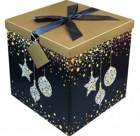 Gift Box 12x12x12 Starlight Collection - Easy to Assemble & Reusable - No Glue Required - Ribbon, Tissue Paper, and Gift Tag Included - EZ Gift Box by Endless Art US