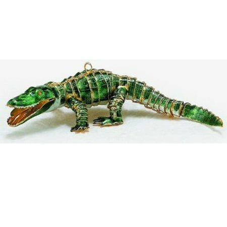 Green Alligator Articulated Cloisonne Metal Christmas Tree Ornament Animal New