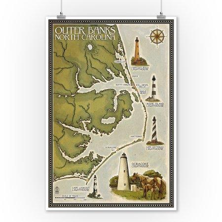 Outer Banks, North Carolina - Lighthouse & Town Map - Lantern Press Artwork (9x12 Art Print, Wall Decor Travel