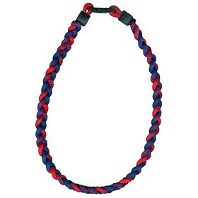 Titanium Ionic Braided Necklace - Navy Blue/red