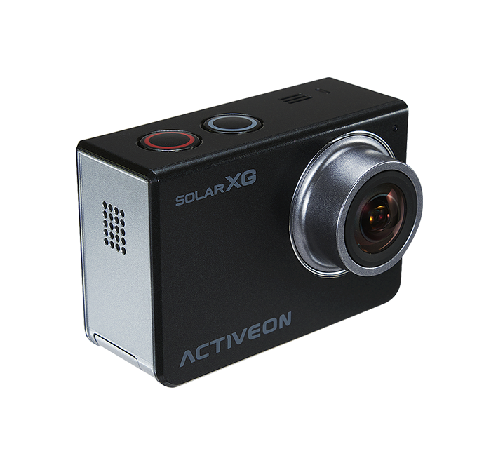 ACTIVEON Solar XG Action Camera + Solar Charging Station (1080p 60fps, 14MP CMOS Sensor) - Touchscreen LCD - Waterproof Housing - Smartphone Control