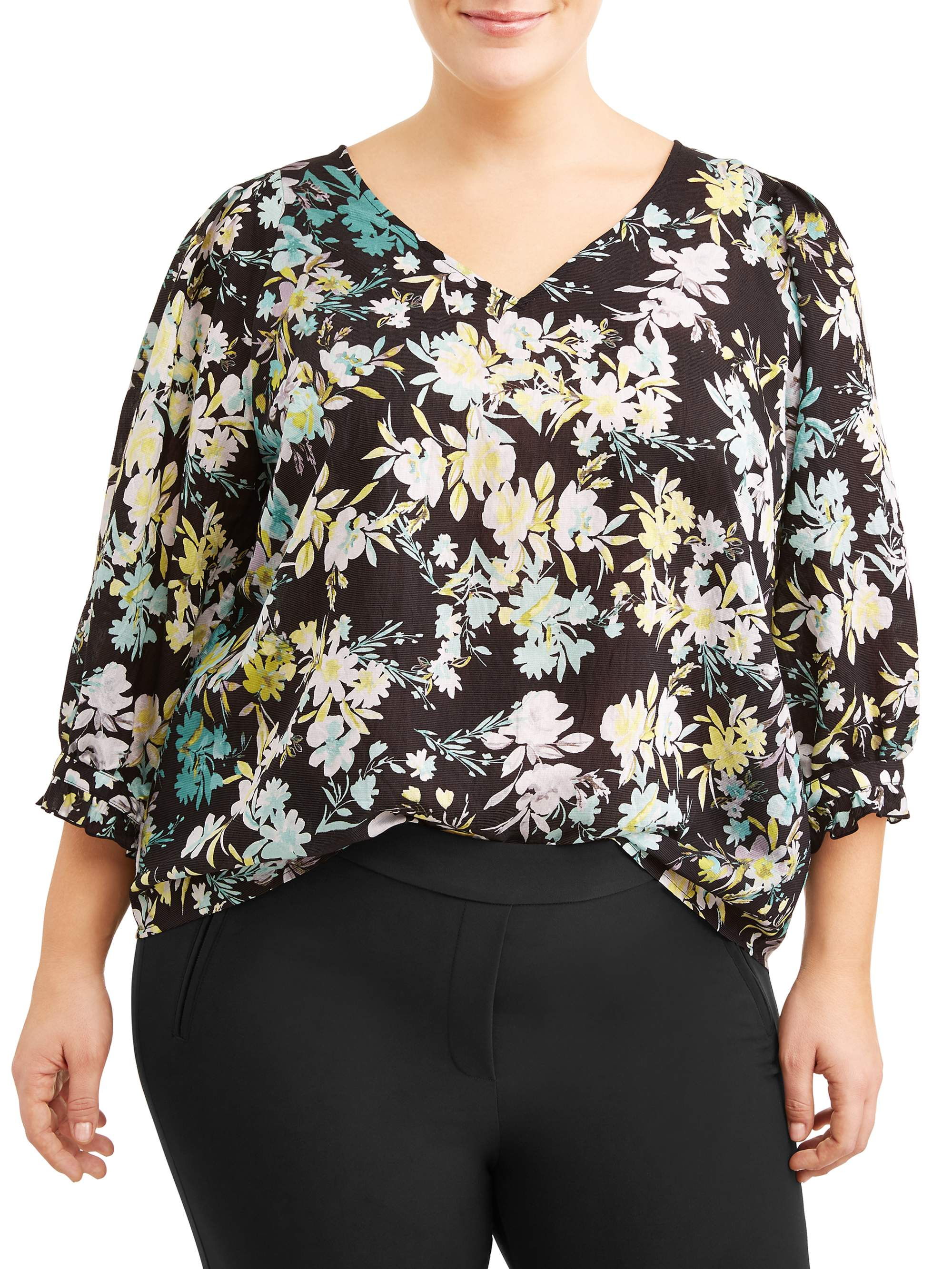 Women's Plus Sized Peasant Printed Blouse