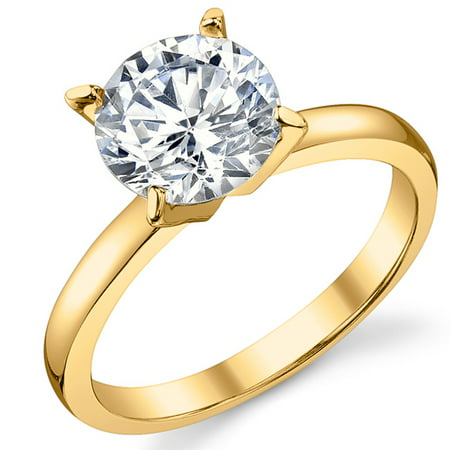 Gold Tone Over Sterling Silver 925 2 Carat Round Brilliant Cubic Zirconia CZ Wedding Engagement -