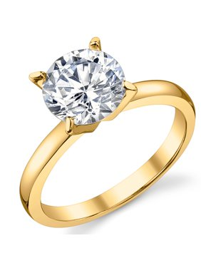 Gold Tone Over Sterling Silver 925 2 Carat Round Brilliant Cubic Zirconia CZ Wedding Engagement Ring