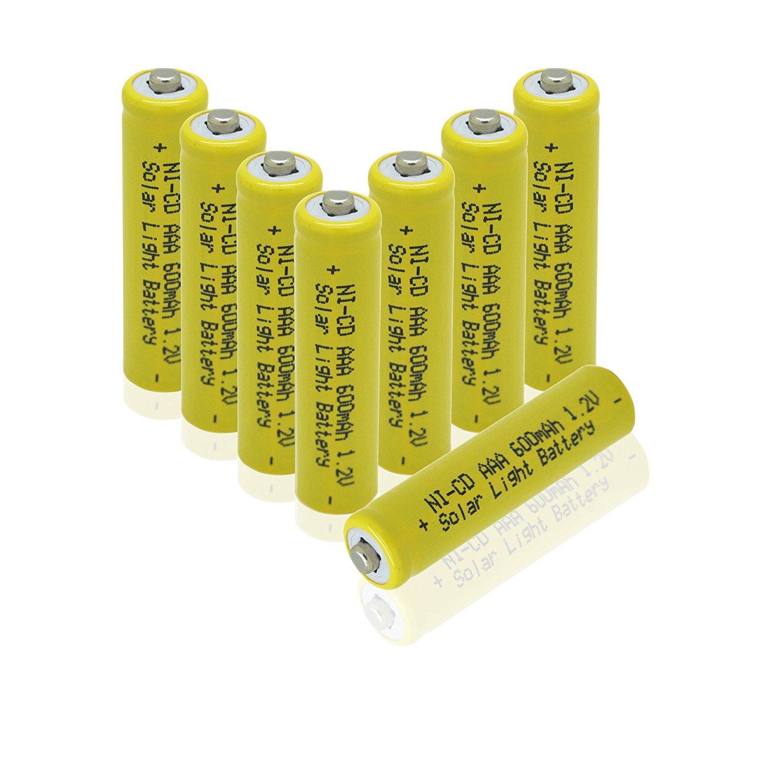 1.2v AAA NiCd 600mAh Rechargeable Battery for Solar light Lamp Yellow Color ( Pack of 8pcs AAA NI-CD Batteries),... by