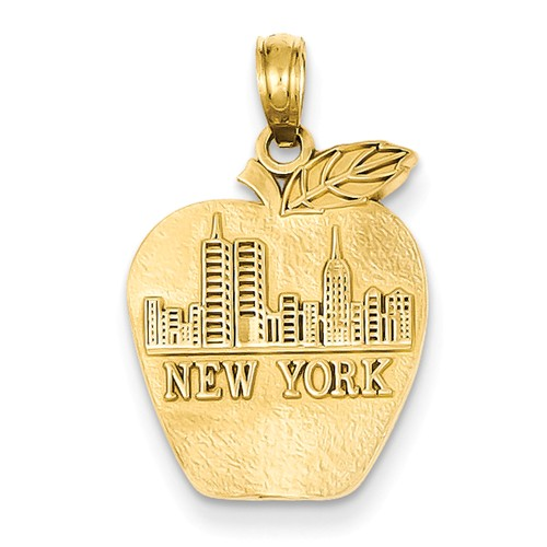 14k Yellow Gold Solid New York Skyline on Small Apple Pendant