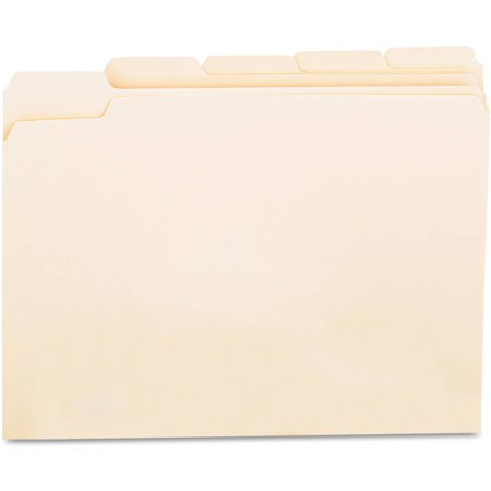 (2 Pack) Universal File Folders, 1/5 Cut Assorted, One-Ply Top Tab, Letter, Manila, 100/Box -UNV12115 (1/5 Cut Top Tabs)