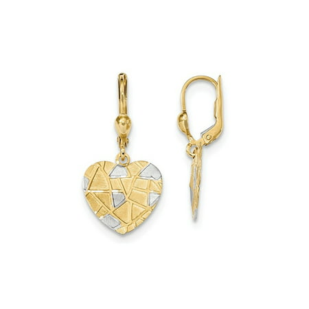 14K Yellow Gold Textured Heart Leverback Dangle Earrings - image 2 de 2