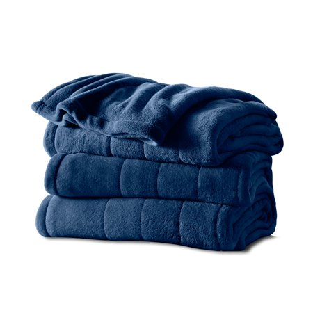 Sunbeam Heated Microplush Blanket with Dial Controller, King (100u0022 x 90u0022), Royal Blue