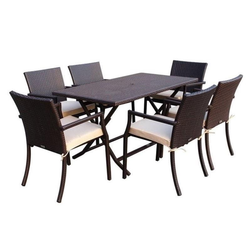Jeco 7 Piece Wicker Buffet Table Set in Tan