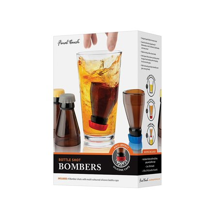 Final Touch Bomb Shots Shot Glasses - Set of 4 Bottle Shot Bombers with Silicone Safety (Bieber Glasses)