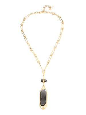 Geometric Faceted Pendant Goldtone Necklace