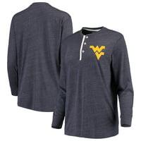 West Virginia Mountaineers Lauren James Women's Tri-Blend Boyfriend Henley Long Sleeve T-Shirt - Heathered Navy