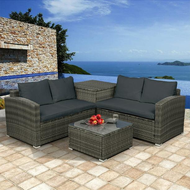 4-Piece Rattan Patio Furniture Sets Clearance, Wicker ...