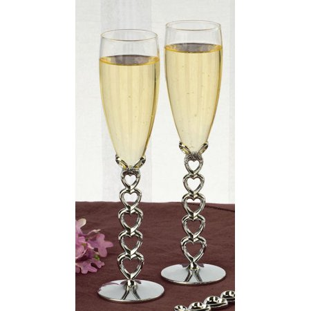 Ivy Lane Design 10-4063 Stacked Heart Stemmed Toasting Flutes