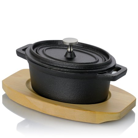 Gibson Home Campton 0.35 Qt. Preseasoned Cast Iron Mini Casserole with Lid and Wooden Base (Cast Iron Casserole Dish With Lid)
