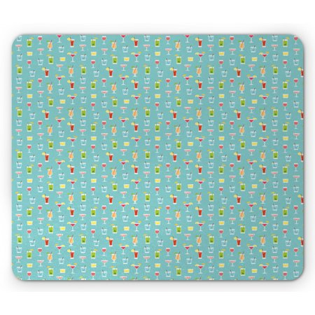 Cocktail Party Games (Cocktail Mouse Pad, Doodle Style Various Beverages in Glasses Party Fun Celebration Pattern, Rectangle Non-Slip Rubber Mousepad, Seafoam Multicolor, by)