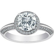 MicroPave CZ Large Solitaire Splendor Ring in Sterling Silver