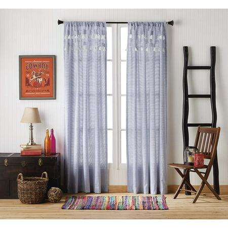 The Pioneer Woman Ticking Stripe Tassel Pole Top Curtain Panel (Baby Blue Kitchen Curtains)