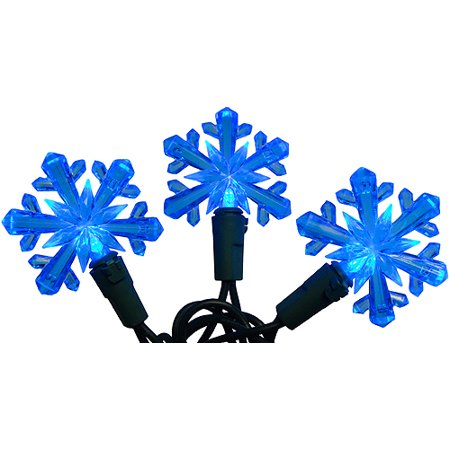 Set Of 50 Blue Led Snowflake Christmas Lights Green Wire