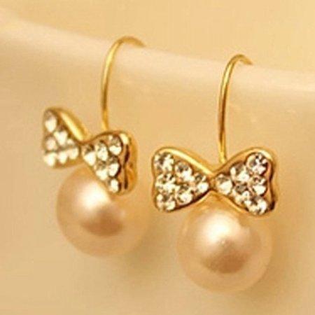 Wholesale Rhinestone Jewelry (KABOER 2019 High Quality Fashion Zircon Earrings Imitation Rhinestone Large Pearl Bow Earrings)